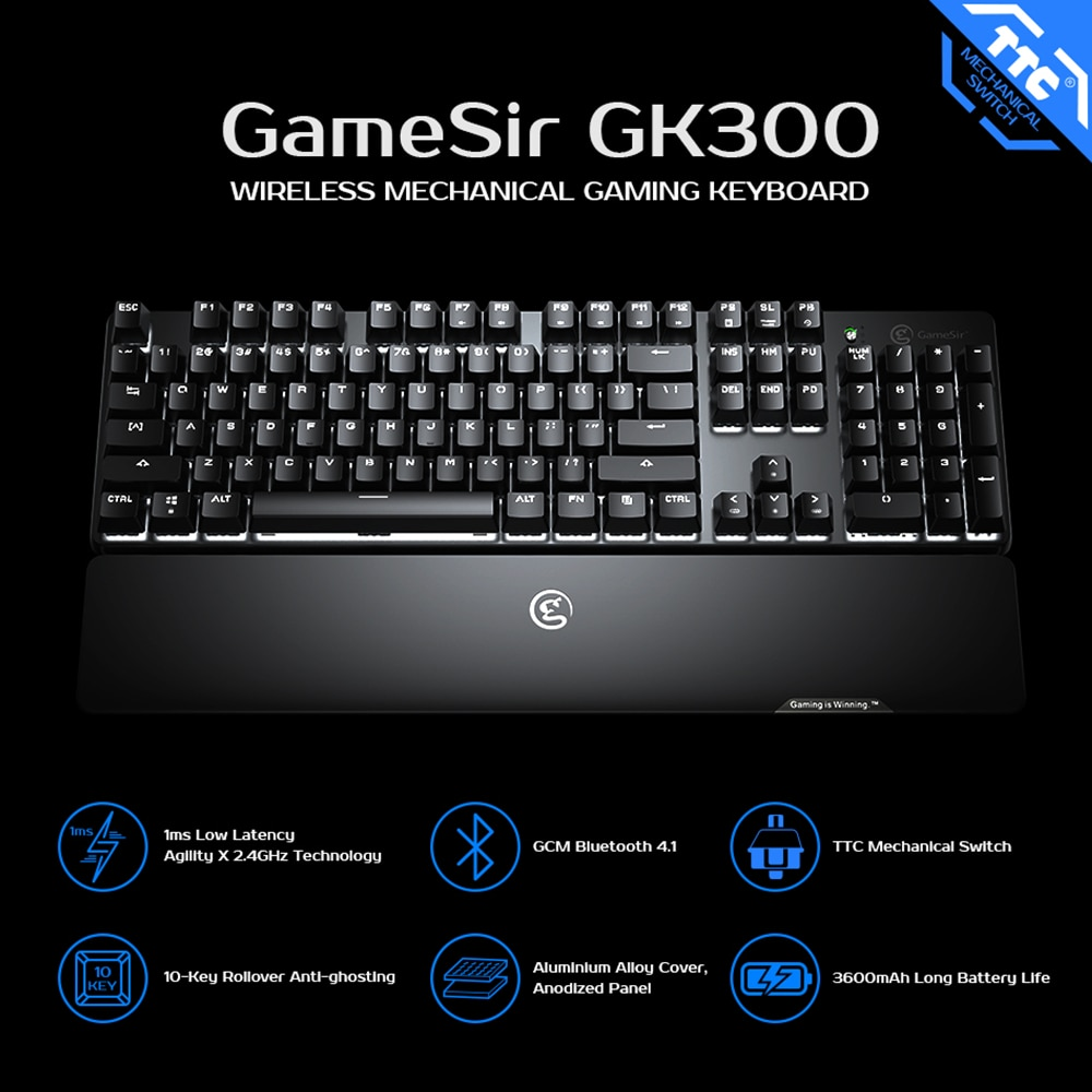 GameSir GK300 2.4GHz Wireless Mechanical Gaming Keyboard Aluminium Alloy Bluetooth Keypad with Wrist Rest for Android / iOS / PC