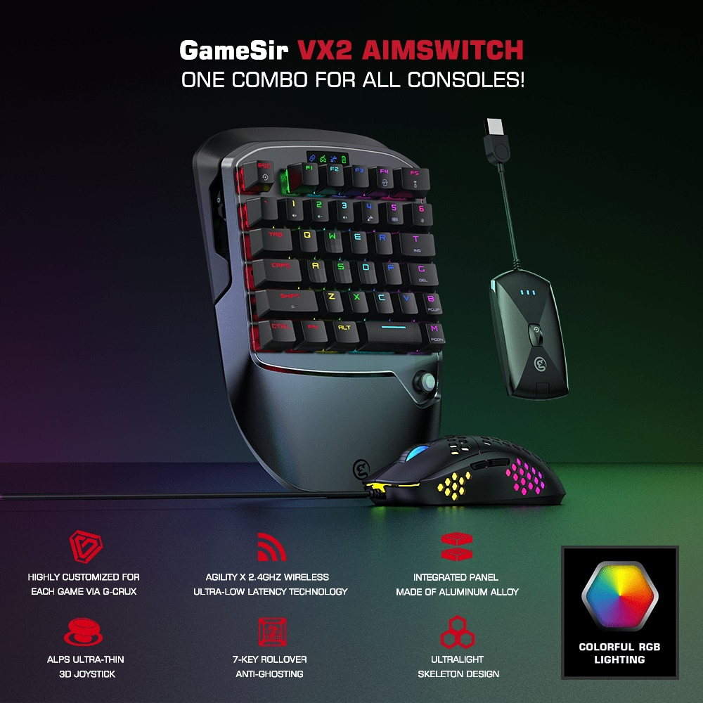GameSir VX2 AimSwitch Gaming Keyboard Mouse and Adapter for Xbox One / PS4 / Nintendo Switch