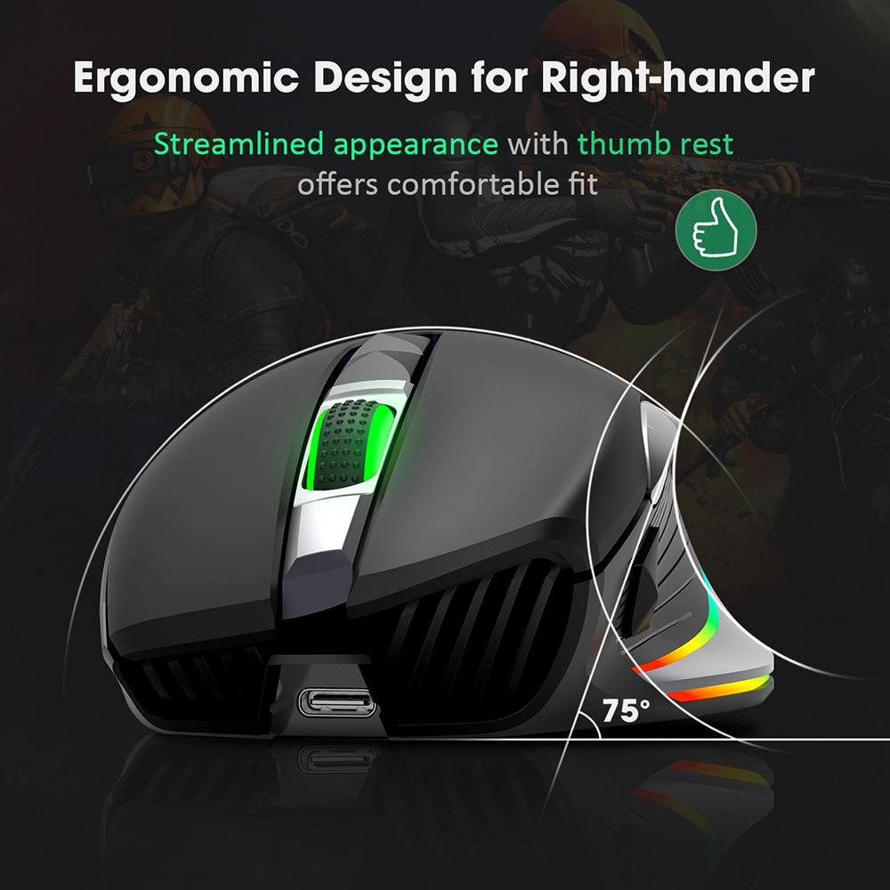 PICTEK PC255 Rechargeable Ergonomic Computer Mice With 8 Programmable Buttons
