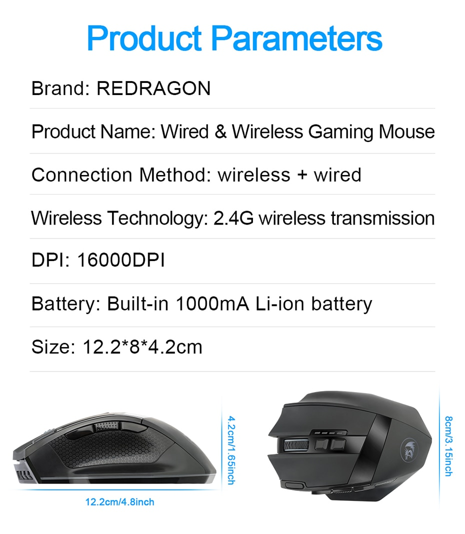 Reddragon Sniper Pro M801P RGB Wired Wireless Gaming Mouse 16400 DPI 10 buttons Programmable ergonomic