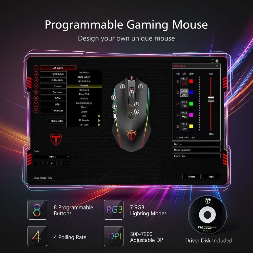 VicTsing 8 Programmable Buttons 7200 DPI Adjustable Optical Gaming Mouse Ergonomic Mouse