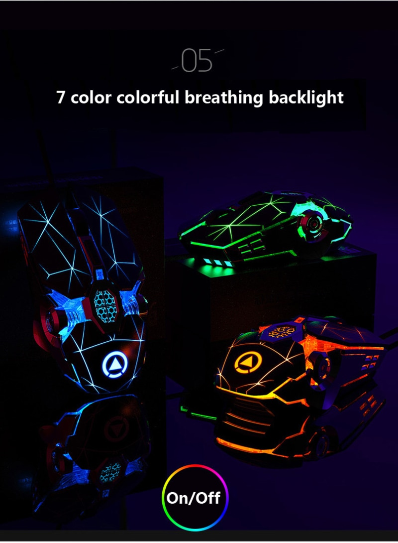 Gaming Mouse 7 Button DPI Adjustable Computer Optical LED Game Mice USB Wired Games Cable Mouse For PC Laptop Gamer