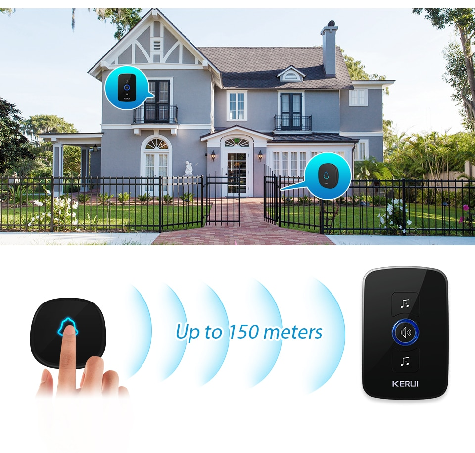 KERUI M525 Home Security Welcome Wireless Doorbell Smart Chimes Door Bell Alarm LED Light 32 Songs With Waterproof Touch Button