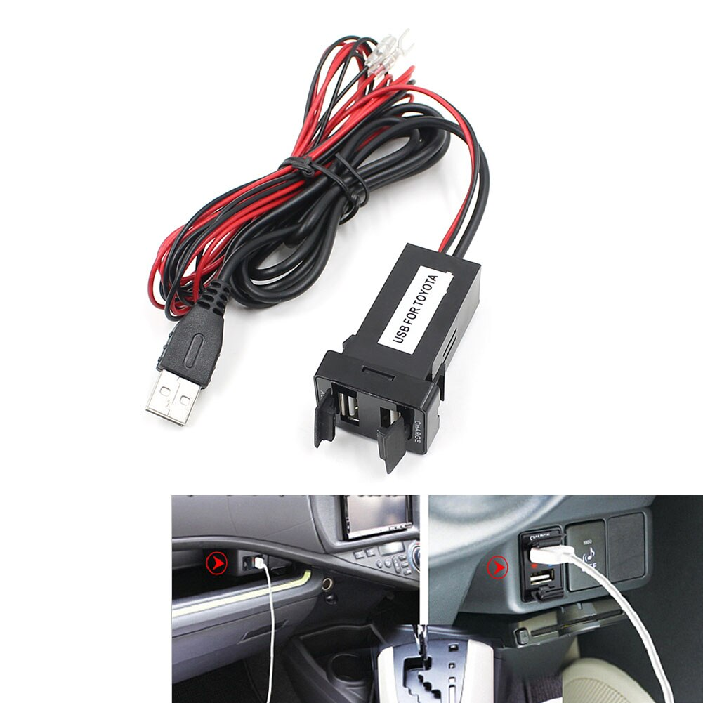 VODOOL Dual USB Car Charger Power Adapter For Fuse Cell Phone Charger 2.1A Socket USB Audio Input Socket for Toyota Hilux VIGO