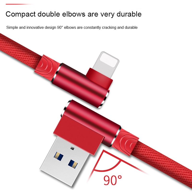90 Degree USB Cable Charger Cord Data Wire For iPhone 11 Pro