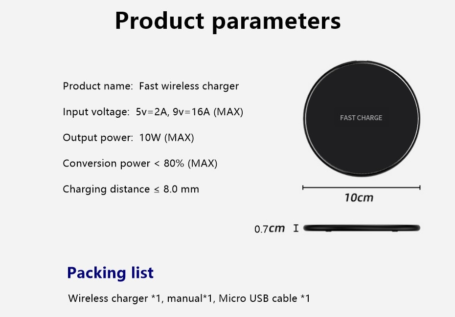 Fast Wireless Charger Pad for Iphone