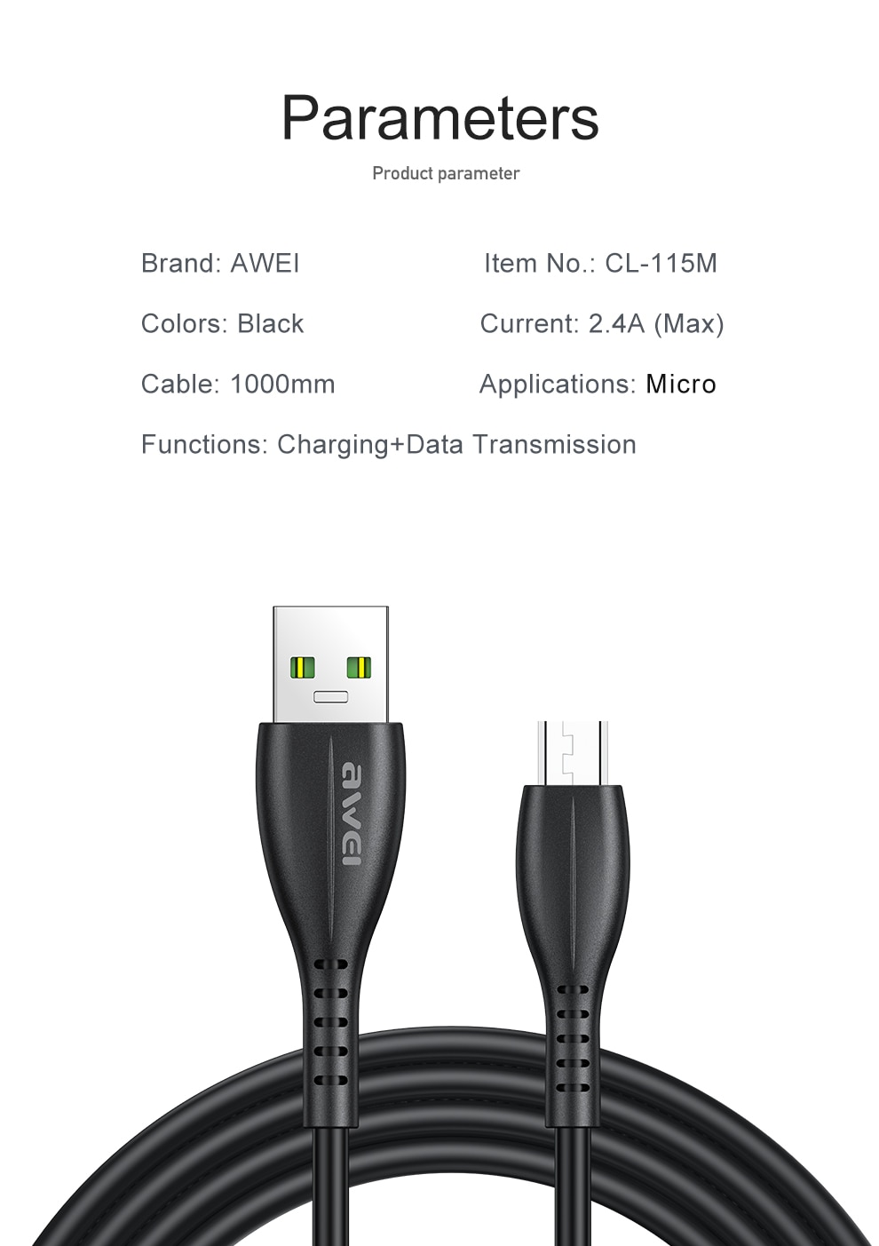 Awei USB Type C Cable Micro USB Mobile Phone Android Charger